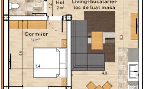 Apartament open-space in bloc nou, 57 mp, Centru, parter inalt !