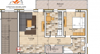Apartament 2 camere, bloc nou, zona Centru, etaj 1 !