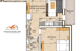 Apartament 2 camere open space 60mp, bloc nou, etaj 1, zona Centru!